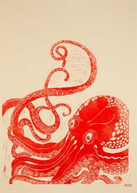 la pieuvre 50x60 cm