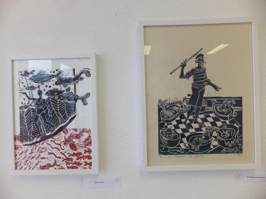 (gauche) Sur le fil, 21 x 29 - (droite)Le dompteur de poissons, 30 x 40 Création des motifs en 2009
