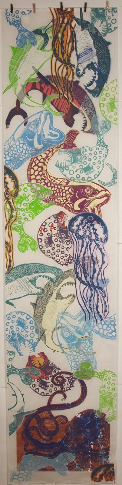 les poissons 35x200cm papier wenzhou . impressions et collages - non disponible - juin 2011